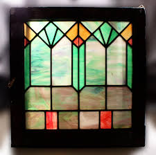 striking antique american arts u0026 crafts stained glass window slag