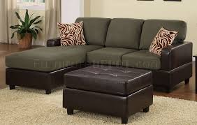 Sectional Sofa With Ottoman F7670 Small Sectional Sofa U0026 Ottoman In Sage Microfiber By Poundex