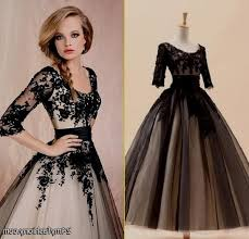 black lace prom dress with sleeves naf dresses