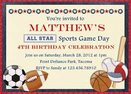 template sophisticated sports day birthday invitations with card