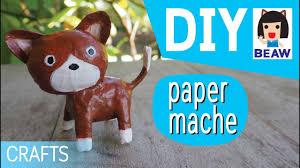 how to make a paper mache cat cartoon for kids crafts diy สอนท า
