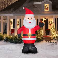 Christmas Yard Decorations Gemmy Airblown Christmas Inflatables 10 U0027 Santa Walmart Com