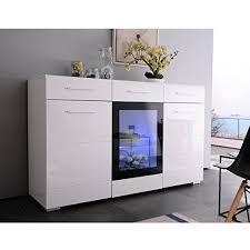 white high gloss sideboard cabinet cupboard uenjoy 150cm 3 doors