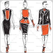 fashion illustration of elegant models in evening dresses