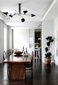 Tray Ceiling Dining Room - serge mouille dining room contemporary with dark wood dining table