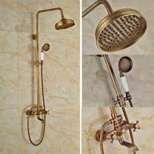 online buy wholesale bathroom mixer shower taps from china rainfall antique brass mixer taps double handles bathroom combo bathroom shower set with shower hand and