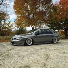bagged subaru wagon my built widened and bagged 06 wrx wagon
