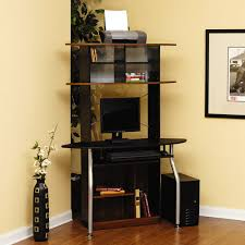 Corner Computer Tower Desk Sauder Corner Computer Tower Silver And Black Walmart