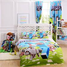 best quality free match minecraft bedding curtain pillow case bedroom single double queen size