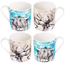 six tartan animals character coffee cups tea cup funny coffee mug