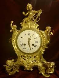 Mantle Piece Clock Outstanding Antique French Gilded Bronze Figural Cherubs Mantel