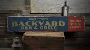 backyard bar u0026 grill wood sign custom name sign welcome