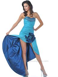 strapless taffeta prom dress with high low hem sung boutique l a