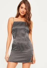 90s dress black silky 90 s neck stripe shift dress missguided
