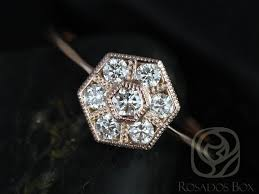 cluster rings rosados box mosaic gold with milgrain diamonds cluster ring