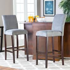 awesome grey colored upholstered bar stools applied at wine cellar