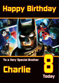 the lego movie batman birthday card personalised a5 large any name