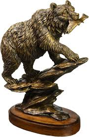 amazon com bronzed finish bear statue home u0026 kitchen