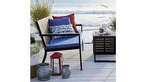 alfresco blue and grey sofa with sunbrella cushion crate and barrel