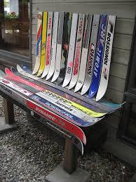 Ski Service Bench Hopeless Repurposing Of Old Skis Part Ii Bench Furniture Ideas