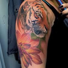 lizvenom beautiful tiger and dahlia flower by liz venom