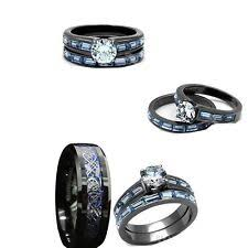 Black Wedding Ring by Bride And Groom Engagement U0026 Wedding Ring Sets Ebay