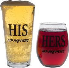 amazon com king beer queen wine glass gift set cool present idea