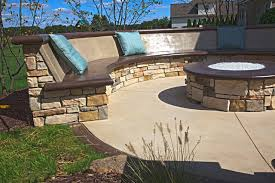 Custom Firepit Custom Concrete Seating Bench Around Gas Firepit Traditional