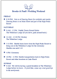 Wedding Itinerary For Guests Weekend Schedule Brown Dog Ink