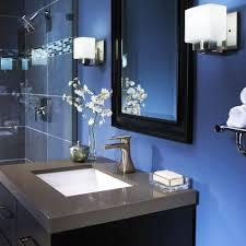 blue sea glass bathroom decor floating white washbasin under the