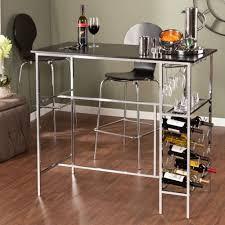 black chrome wine storage pub table home bar bottle rack glass