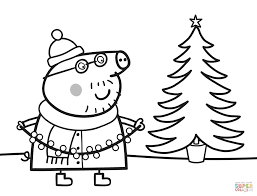 daddy pig decorates xmas tree coloring page free printable