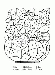color by number flowers in vase coloring page for kids education