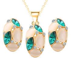 opal flower necklace images Wholesale luxury austrian crystal opal flower pendant jewelry sets jpg