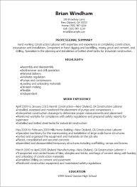 Construction Resume Template Glamorous Construction Laborer Resume 1 Unforgettable Construction