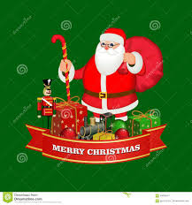 merry and happy new year ribbon banner with santa claus