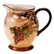 hand painted with distinct style the tuscan view pitcher features