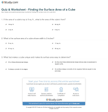 Area Of Compound Shapes Worksheet Quiz U0026 Worksheet Finding The Surface Area Of A Cube Study Com