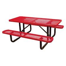 leisure craft picnic tables leisure craft t12xpsm metal outdoor picnic table 6 red click on