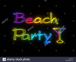 neon shining signboard with words beach party and cocktail with