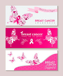 breast cancer awareness butterfly ribbon banners stock vector