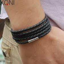 chain link charm bracelet images Xqni brand black retro wrap long leather bracelet men bangles jpg