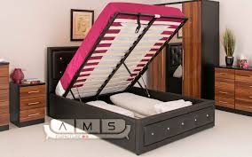 stylish diamond studded 4ft6 double leather storage ottoman bed