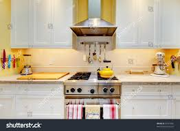 Yellow Kitchen With White Cabinets Narrow White Yellow Kitchen Cabinets Close Stock Photo 97977965