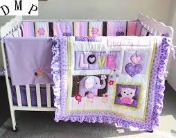 Cot Duvet Set Promotion 7pcs Purple Cotton Bed Baby Bumper Set Cot Bedding Set