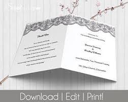 Folded Wedding Programs Fold Wedding Program Etsy