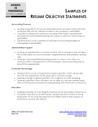 Great Job Objectives For Resumes by 100 Accounting Resume For Fresh Graduates Sample