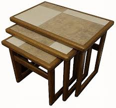 small nest of tables anbercraft mocha tiled top large nest of tables