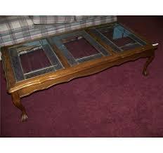 vintage glass coffee table vintage oak u0026 glass top coffee table w ball u0026 claw feet
