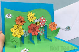How To Make Easy Paper Flowers For Cards - easy pop up card how to projects red ted art u0027s blog